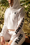 Playboy Basics Pullover Crop Hoodie - White