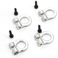Hot Racing - 1/10 Scale Aluminum Silver Tow Shackle D-Rings (4)