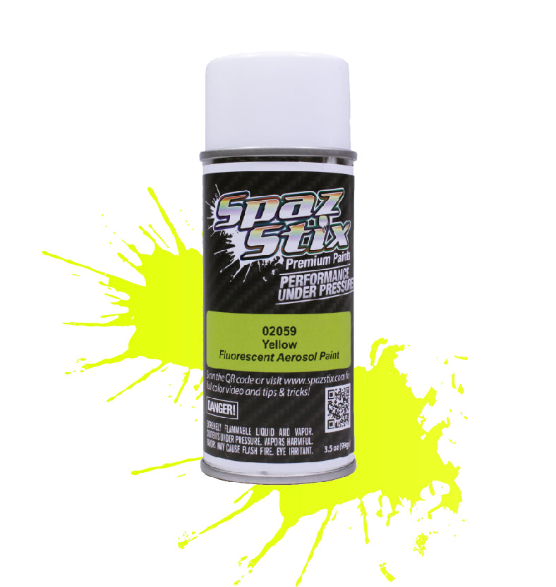 Spaz Stix - Yellow Fluorescent Aerosol Paint, 3.5oz Can