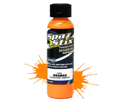 Spaz Stix - Orange Fluorescent Airbrush Ready Paint, 2oz Bottle