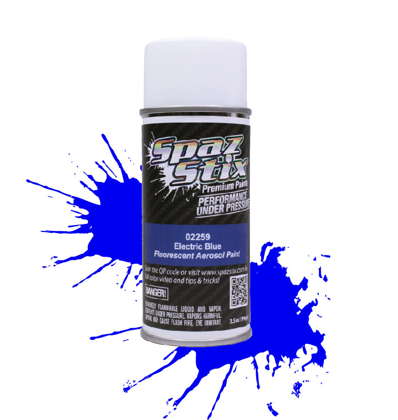 Spaz Stix - Electric Blue Fluorescent Aerosol Paint, 3.5oz Can