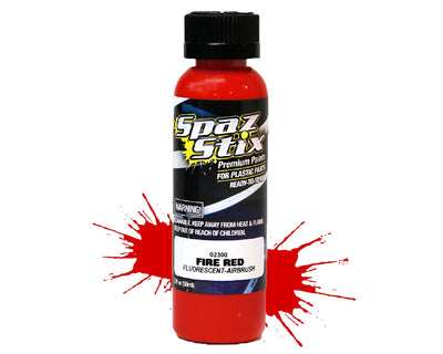 Spaz Stix - Fire Red Fluorescent Airbrush Ready Paint, 2oz Bottle