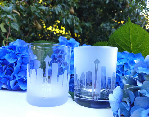 Seattle Skyline Rocks Glass Pair