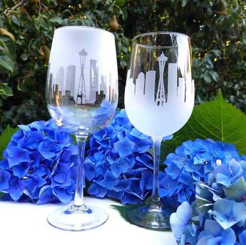 Seattle Skyline Wine Glass Pair