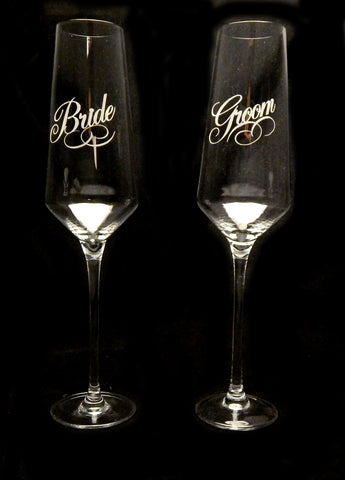 Bride & Groom Toasting Set - Barone Crystal