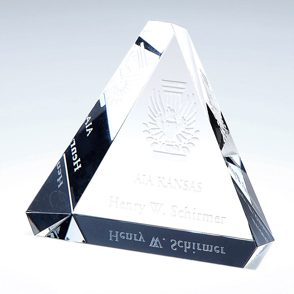 Beveled Triangle Paperweight - Barone Crystal