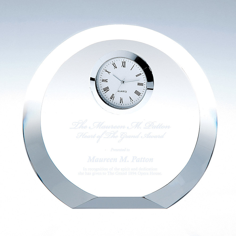 Circle Silver Clock - Barone Crystal