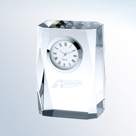 Beveled Column Clock - Barone Crystal