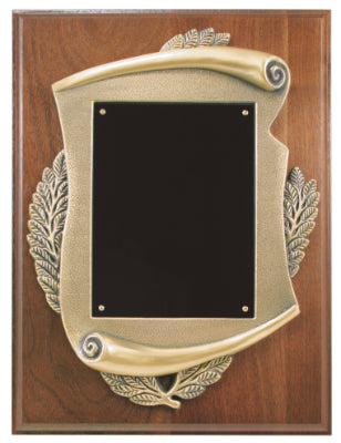 Genuine Walnut Plaque with Scroll Frame