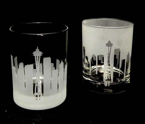 Seattle Skyline Rocks Glass Pair - Barone Crystal