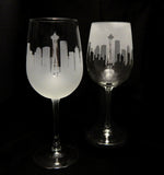 Seattle Skyline Wine Glass Pair - Barone Crystal