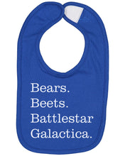 Load image into Gallery viewer, Bears Beets Battlestar Galactica Baby Bib - Brain Juice Tees