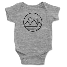 Load image into Gallery viewer, Mountain Sun And Trees Baby Onesie