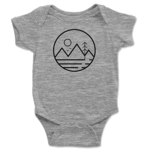Mountain Sun And Trees Baby Onesie