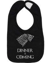 Load image into Gallery viewer, Dinner Is Coming Baby Bib - Brain Juice Tees