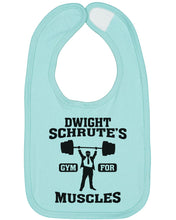 Load image into Gallery viewer, Dwight Schrute's Gym For Muscles Baby Bib - Brain Juice Tees