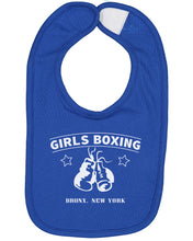 Load image into Gallery viewer, Girls Boxing Bronx New York Baby Bib - Brain Juice Tees