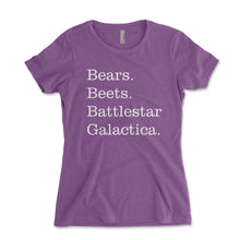 Load image into Gallery viewer, Bears Beets Battlestar Galactica Women's Shirt - Brain Juice Tees