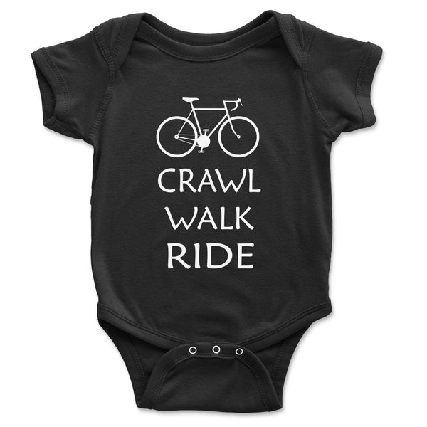 Crawl Walk Ride Bike Baby Onesie - Brain Juice Tees