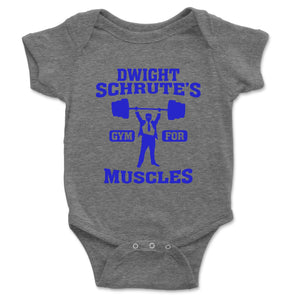 Dwight Schrute's Gym For Muscles Baby Onesie - Brain Juice Tees