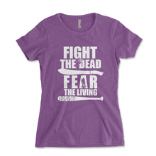 Load image into Gallery viewer, Fight The Dead Fear The Living Women's Shirt - Brain Juice Tees