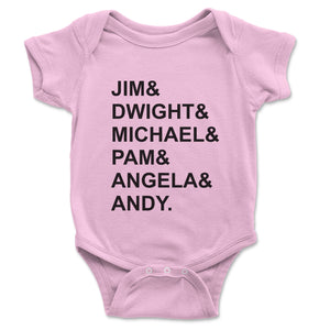 Jim And Dwight And Michael Baby Onesie - Brain Juice Tees