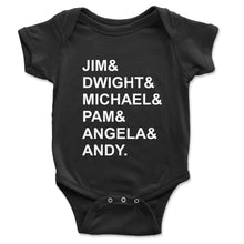 Load image into Gallery viewer, Jim And Dwight And Michael Baby Onesie - Brain Juice Tees