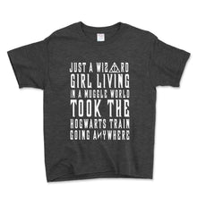 Load image into Gallery viewer, Just A Wizard Girl Living In A Muggle World Unisex Toddler Shirt - Brain Juice Tees