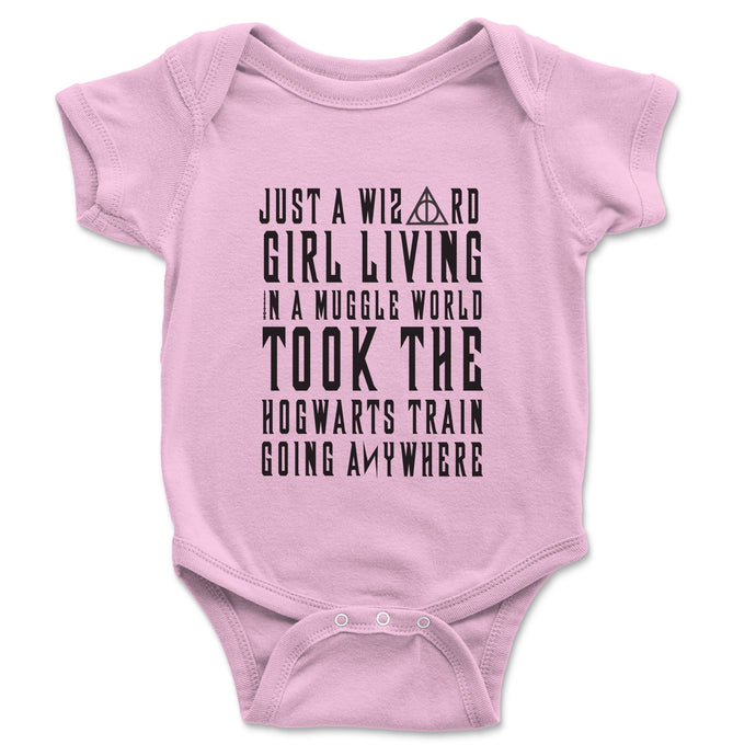 Just A Wizard Girl Living In A Muggle World Baby Onesie - Brain Juice Tees
