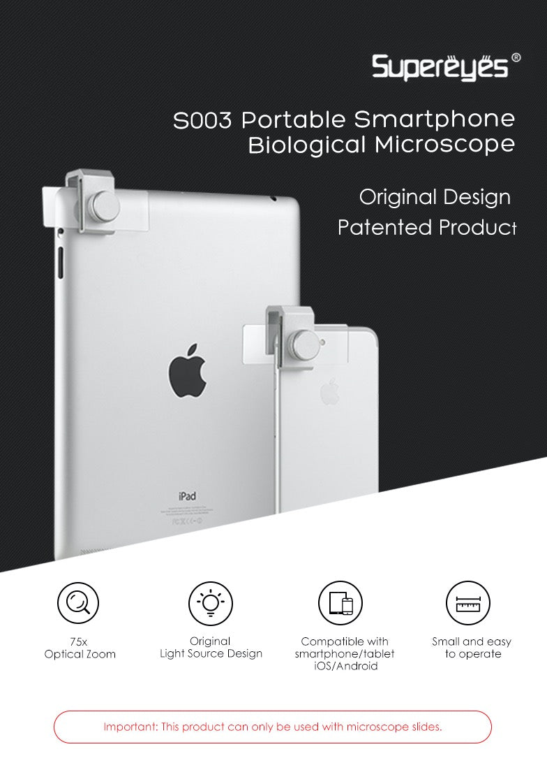 Supereyes S003 Portable Smartphone Biological Microscope for Smart Phones iPhone Samsung Tablets