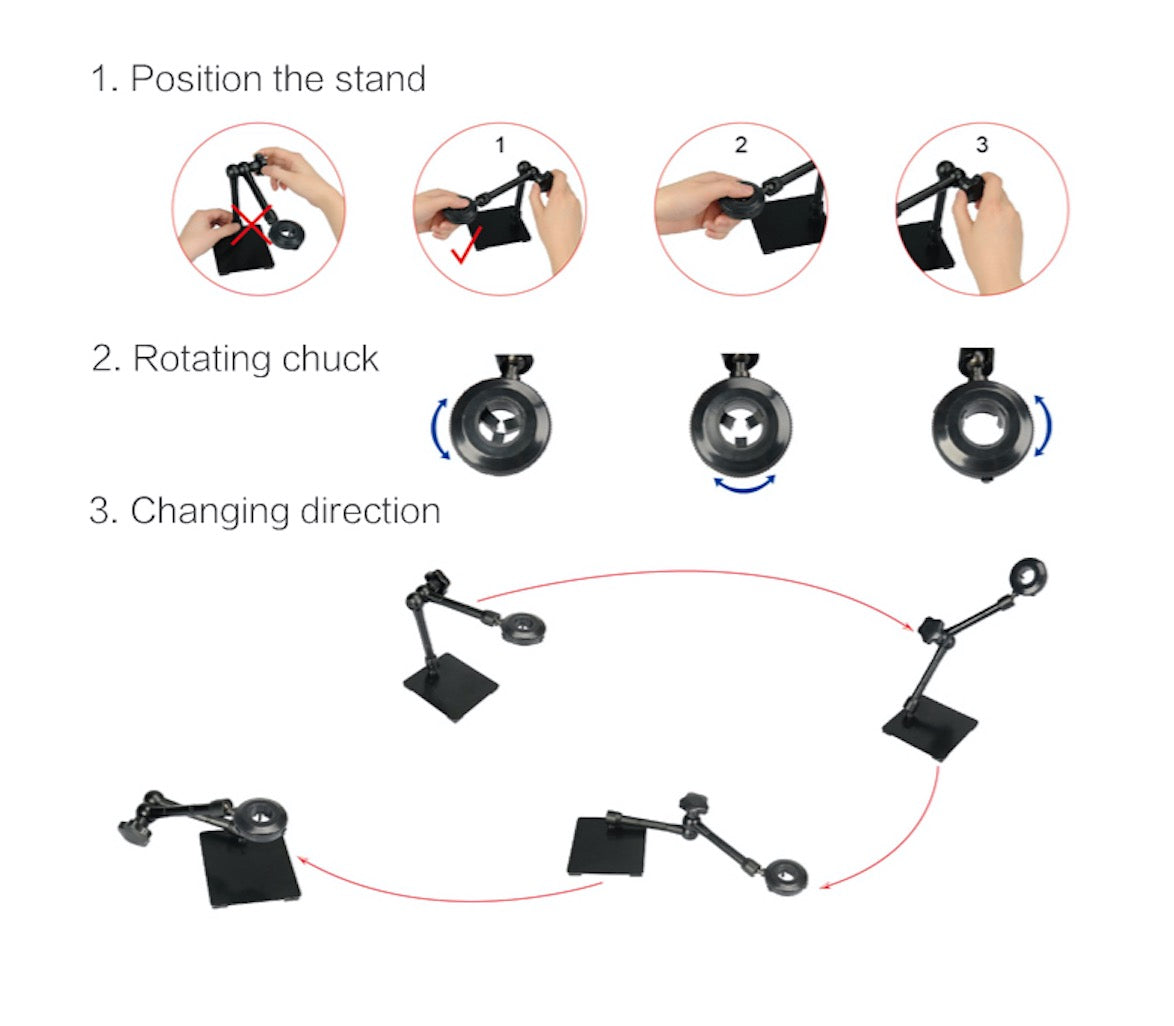 Z004ZB Magic Microscope Stand Jewelry Universal Adjustable Rotating Stand for Handheld USB Microscope Endoscope