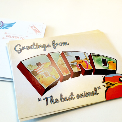 Greetings from BIRD the postcard for posting