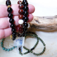 Handmade men's jewelry. Beaded gemstone bracelets for men and women. Agate, jasper, onyx