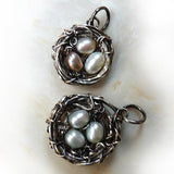 Antique silver wire wrapped nest with freshwater pearl eggs