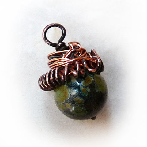 natural turquoise acorn wire wrapped handmade pendant