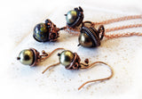selection of acorn wire wrapped pendants and earrings