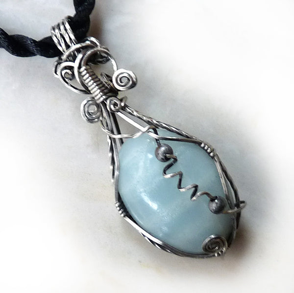 Amazonite gemstone wire wrapped pendant, sterling silver