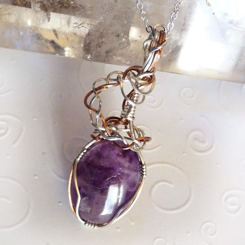 Amethyst, silver and copper. Wire wrapped handmade