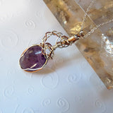 handmade Amethyst, silver & copper purple quartz pendant
