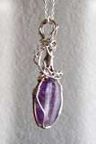 purple, silver and copper wire wrap pendant amethyst