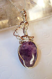 Amethyst, silver and copper. Wire wrap handmade pendant