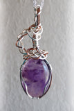 one of a kind amethyst necklace with silver and copper