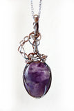one of a kind amethyst, silver, copper, purple pendant jewelry