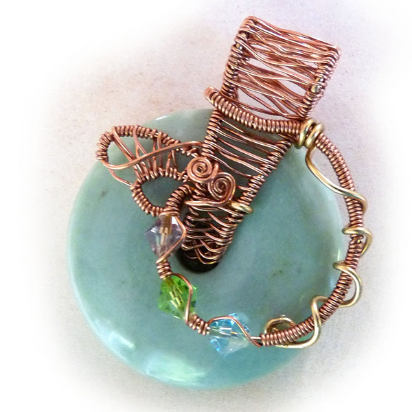 Wire weave donut gemstone - teal, copper, bronze, crystal