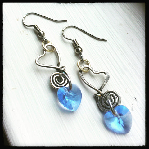 Blue & silver handmade wire dangle OOAK heart earrings