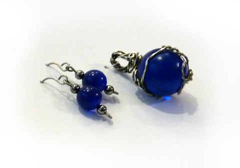 blue marble glass matching earrings wire wrapped pendant
