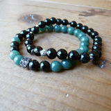Handmade Beaded Gemstone Mens Bracelets green Black