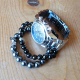 Men's Jewelry Handmade Black Gemstone Bracelet w watch