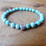 Men's Handmade beaded bracelet w leaf Turquoise jewelry