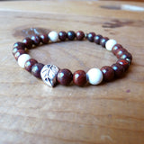 Men's Handmade brown & white Bracelet w leaf jewelry